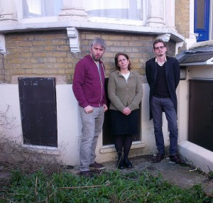 Cllr Richard Wilson, Cllr Katherine Reece and local resident Ben Myring outside the boarded up property on Beatrice Road